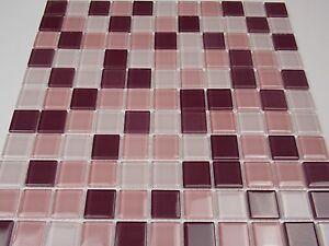 Das Bild Wird Geladen Glasmosaik Mosaik Fliesen Klarglas Lila Mix Bad  Dusche