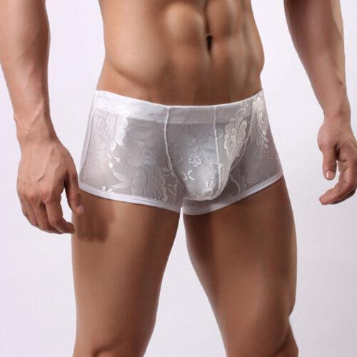 Men/'s Sheer Lace Boxer Briefs Shorts Sissy Panties Gay Underwear Lingerie LDUK