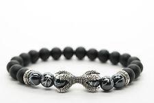 Onyx and Hematite Stone Unisex Beaded Bracelet with Claw Handmade