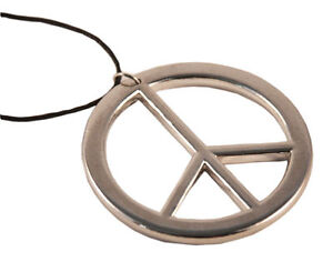 Hippie-Peace-Kette-Peacekette-Flower-Power-70er-Jahre-Fasching-Neu