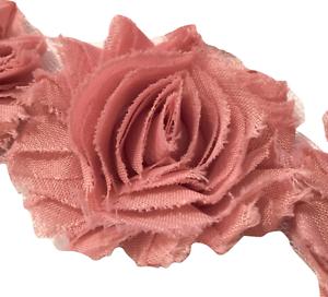 """1//2 yard dusty blue 2.5/"""" shabby chiffon rose trim flowers DIY baby headband"""