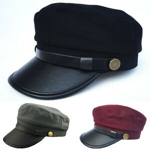 Men Women Washed Cadet Military Sailor Flat Top Cap Navy Army Plain Cotton Hat