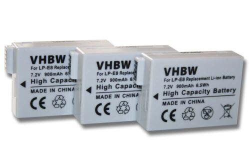 3x Batería Para CANON LP-E8 LPE8 LPE-8 ACCU
