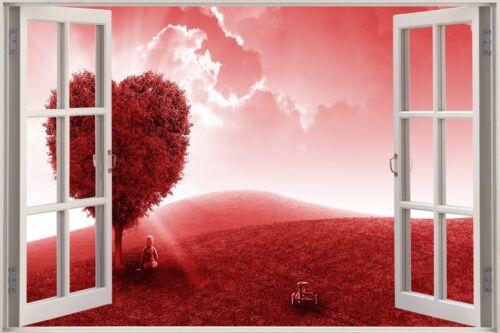 Huge 3D Window View Heart Tree Love Field Wall Sticker Poster M1--186