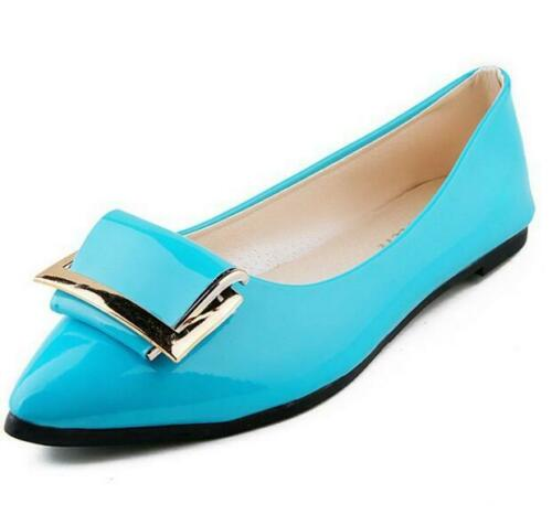New Ladies Spring Metal Decor Pointed Toe Flats Casual Shoes Breathable Glossy