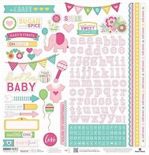 "PAPER HOUSE HELLO BABY GIRL PREGNANCY INFANT 12""X12 CARDSTOCK SCRAPBOOK STICKERS"