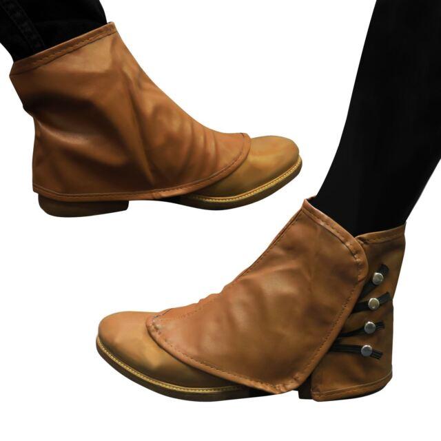 Braune Gamaschen Steampunk Schuhe Stiefel Abdeckung Lederoptik Schuhwerk Knöchel