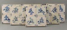 24 Antique 17thC Blue & White Delft Porcelain Painted Horsemen Musketeer Tiles