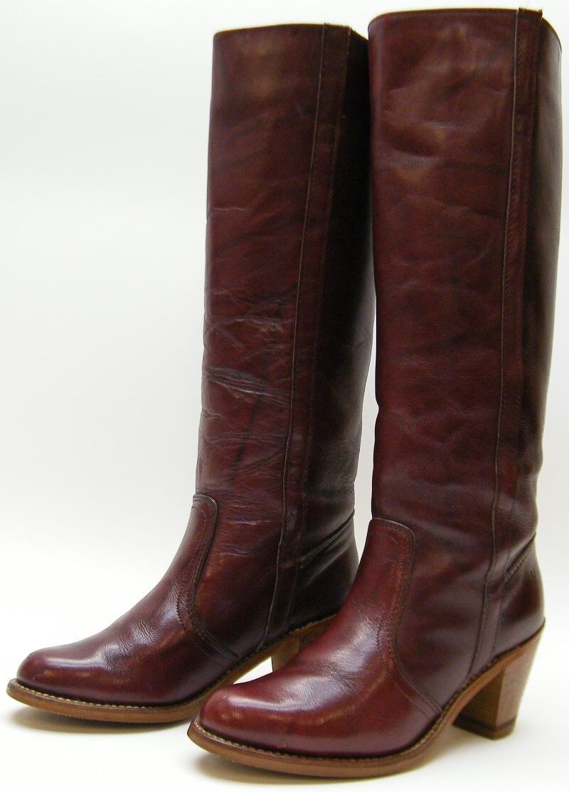 WOMENS Dexter Vintage USA MADE Tall Leather Campus Riding Boots Brown Size 6 M