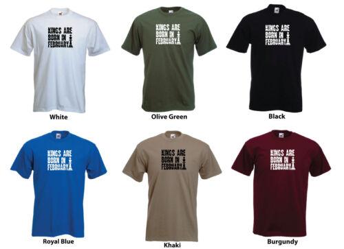 /'Kings are Born in February/' Men/'s Custom Birthday Funny T-shirt