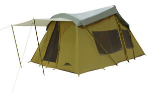 Trek 16 39 x 10 39 canvas base camp tent w custom fly cover for Canvas tent fly