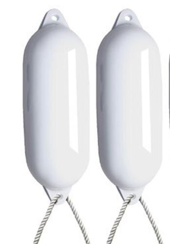 INFLATED - SIZE 4 FREE ROPE 2 X MAJONI WHITE BOAT FENDERS