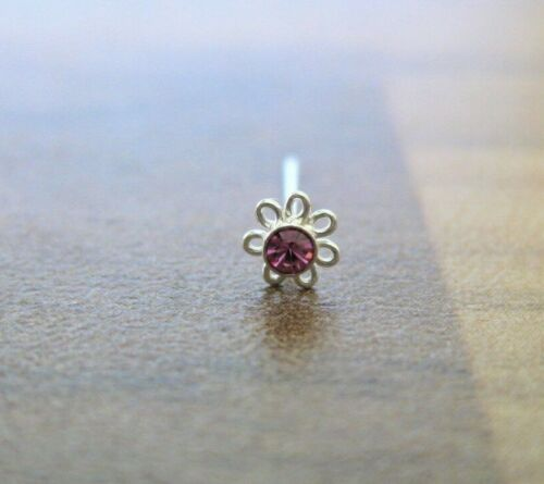 1 x Petal Shaped Nose Studs 3 or 4mm Straight Pin NS2 925 Sterling Silver
