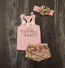 Summer Kids Baby Girls Outfits Clothes T-shirt Tops+Short Pants Shorts 2PCS Set
