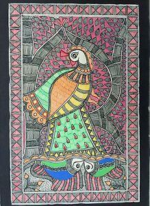Original-Madhubani-Mithila-Paintings-Fish-Peacock-Handmade-Indian-Folk-Art