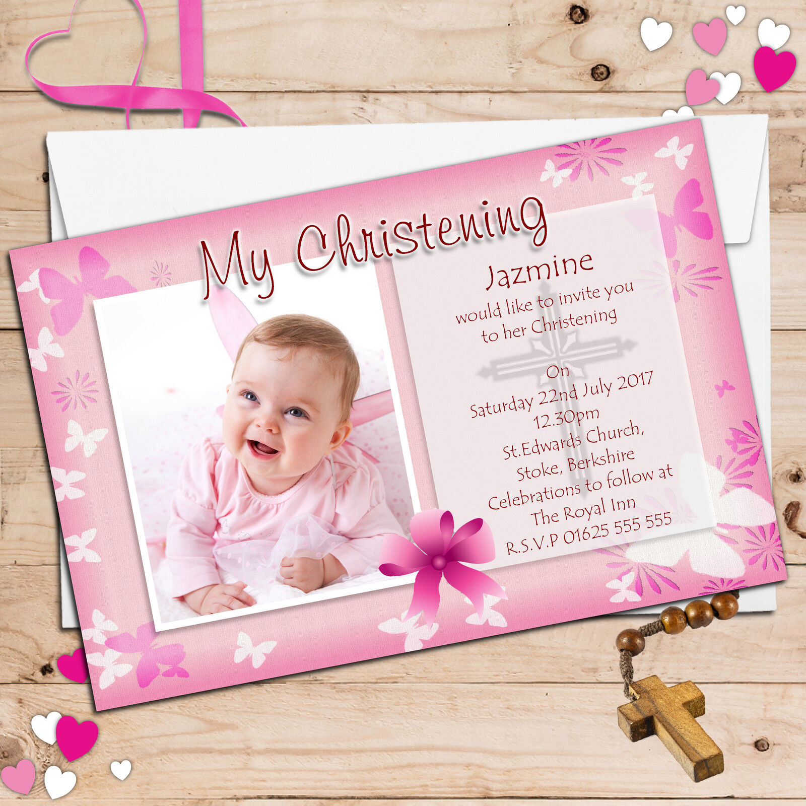 100 Personalised Girls Butterfly Christening Baptism PHOTO Invitations N54