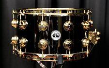 "DW Drums Drum Workshop 8x 14"" Collector's Snare Black Nickel over Brass w/ Gold"