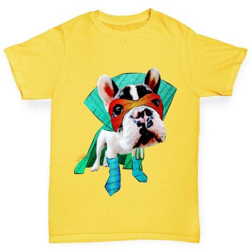 Twisted Envy Boy/'s Super Hero Dog French Bulldog Premium Cotton T-Shirt