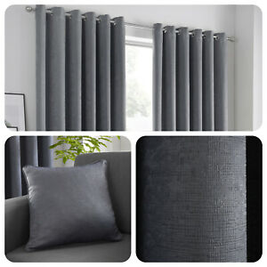 Fusion-STRATA-Charcoal-Grey-Dim-Out-Eyelet-Curtains-amp-Cushions