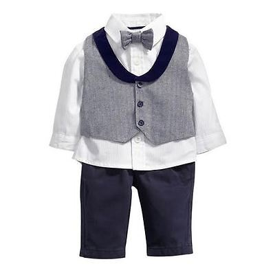 Boys Fashion Stylish Formal Wedding Birthday 4Piece Waist coat BowTie Shirt  Set