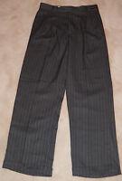 Kani Gold Men's Gray Pinstripe Pleated Dress Pants W30 L30 Wrinkle Resistant