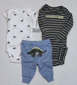 Set of 3 Carters Preemie Pajamas New With Tags Reborn