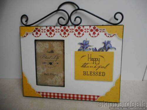 """HAPPY THANKFUL BLESSED SELF STANDING PHOTO FRAME  HOLDS 4/""""X6/"""" PICTURE  BRAND NEW"""