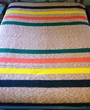 """Vintage Blanket Wool or Wool Blend Multi Color Striped 85"""" x 65"""""""