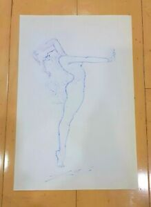 """SALVADOR DALI -WOMAN- AUTHENTIC INK ON PAPER 13"""" x 8.5"""" DRAWING"""