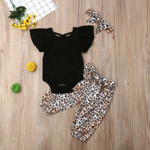 UK 3PCS Kids Baby Girl Clothes Fly-Sleeve Tops+Leopard Long Pants Outfit Sunsuit