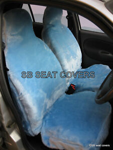 COOL-BLUE-FAUX-FUR-CAR-SEAT-COVERS-FULL-COMPLETE-SET