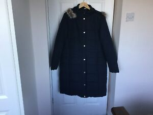 de Azul piel acolchado Tamao Abrigo de marino con largo capucha Traders 16 de Cotton borde HnqnPU