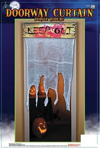 KEEP-OUT-Sign-Bloody-Doorway-Curtain-Haunted-House-Halloween-Decoration-Prop