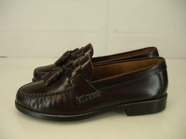 Mens 9 W Wide Bostonian Burgundy Cordovan Leather Tassel Loafers shoes Moccasins