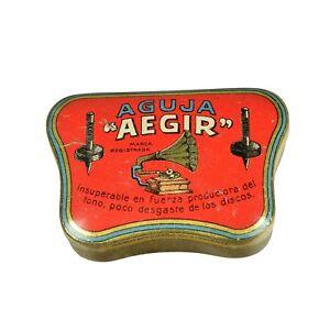 AEGIR-Nadeldose-f-Grammophon-Nadeln-Blechdose-vintage-needle-tin-gramophone