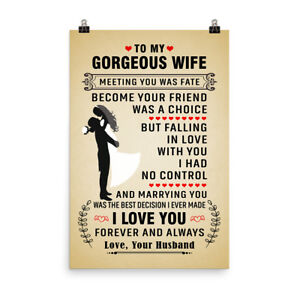 Details about Love Quotes Poster Gift for Gorgeous Wife I Love You Forever  and Always Poster