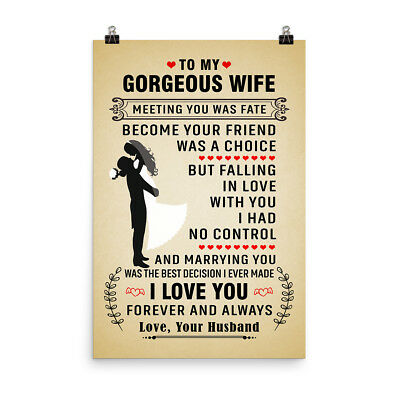 Love Quotes Poster Gift for Gorgeous Wife I Love You ...