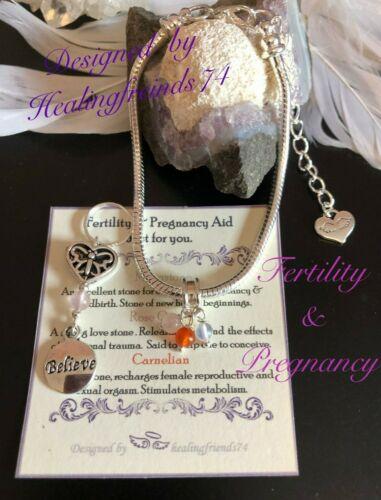 Chakra Gift Fertility /& Pregnancy Crystal Healing Bracelet set or Just Charm
