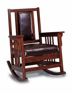 Awesome Details About Mission Style Oak Finish And Leather Match Rocker Rocking Chair 600058 Lamtechconsult Wood Chair Design Ideas Lamtechconsultcom