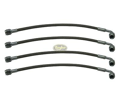 """Braided Brake Line Hose #4 24/"""" Long Straight On One End 90 Degree On Other"""