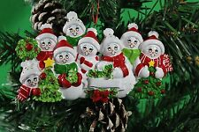 PERSONALISED CHRISTMAS TREE DECORATION ORNAMENT SNOW FAMILY OF 8