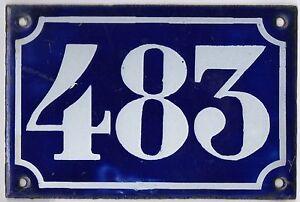 Old blue French house number 483 door gate plate plaque enamel metal sign c1900