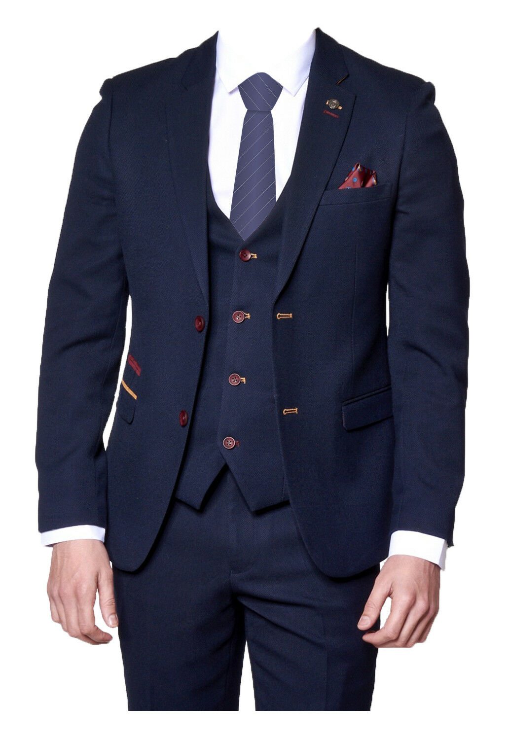 Mens Marc Darcy 3 Piece Formal Smart   Wedding   Dressy Suit JD4 - Navy bluee
