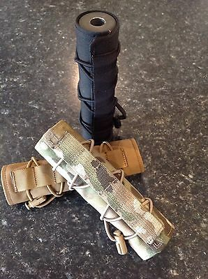 Airsoft Suppressor covers in Multicam, Coyote Brown, Black And Desert Camo.