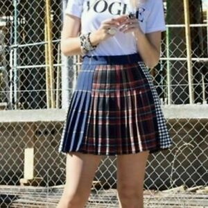 6a5a8af777 Zara NEW Tartan Checked Navy Blue Red Mini Pleated Box Skirt 7149 ...