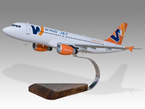 Airbus A320 Windjet Solid Kiln Dried Mahogany Wood Handcrafted Desktop Model