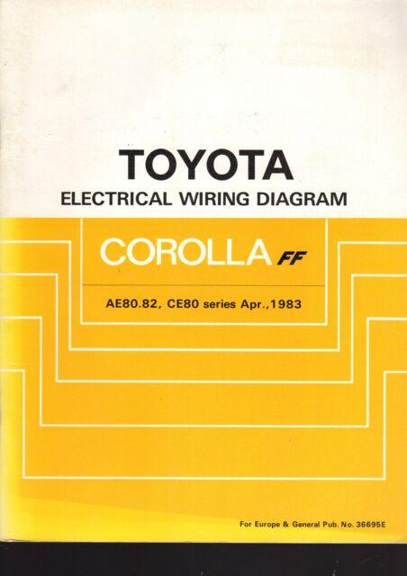 toyota corolla ae80 82 ce80 series april 1983 electrical wiring rh ebay com au