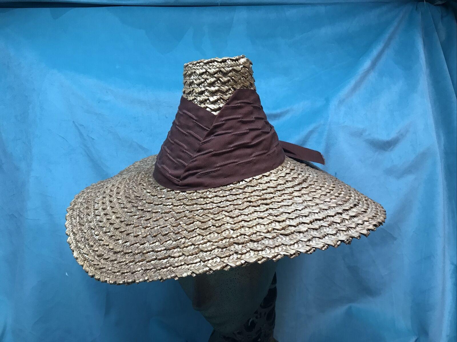 vintage straw hat 1930s 1940s 40s Tilt Wide Brim … - image 1