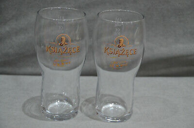 50cl Ksiazece Polish Poland Beer Pint Glass 500ml To Line Pair Of Tyskie 2