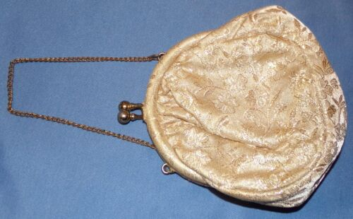 mano correa floral de tela con Brocade de blanco bolso cadena formal qx6Zxw4